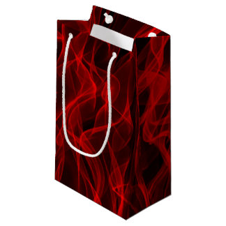 Modern Trendy Neon Red Curvy Line Abstract Pattern Small Gift Bag