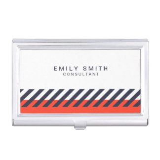 Modern Trendy Orange and Blue Stripes Case For Business Cards