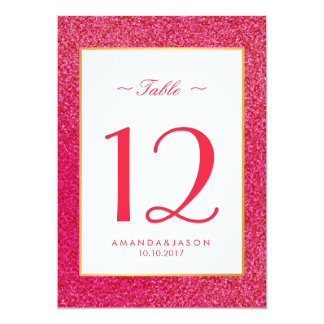 Modern  Trendy Pink Glossy Glitter Wedding TABLE Card