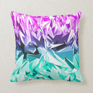 Modern Trendy Purple and Teal Fractal Geo Cushion