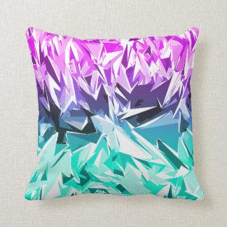Modern Trendy Purple and Teal Fractal Geo Cushion