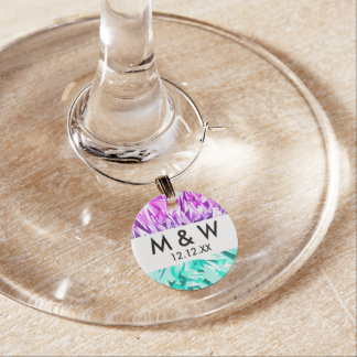 Modern Trendy Purple and Teal Fractal Geo Wine Glass Charms