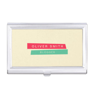 Modern Trendy Red and Green Strips Business Card Case