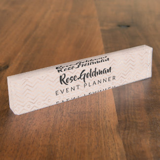 Modern Trendy Rose Gold Chevrons Luxury Name Plate