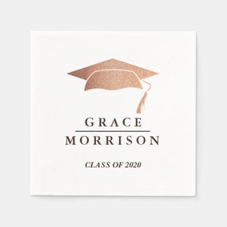 Modern & Trendy Rose Gold Personalized Graduation Disposable Napkin