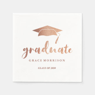 Modern & Trendy Rose Gold Personalized Graduation Disposable Serviette