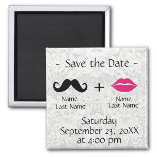 Modern Trendy Save the Date Square Magnet