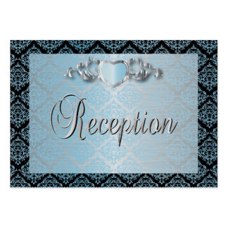 Modern Trendy Wedding in a Aqua Blue Damask Pack Of Chubby Business Cards