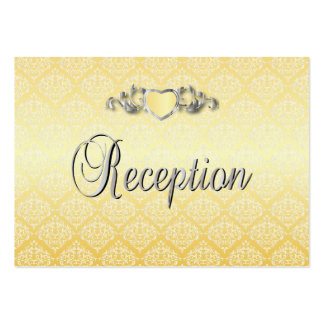Modern Trendy Wedding in a Yellow Damask Pack Of Chubby Business Cards