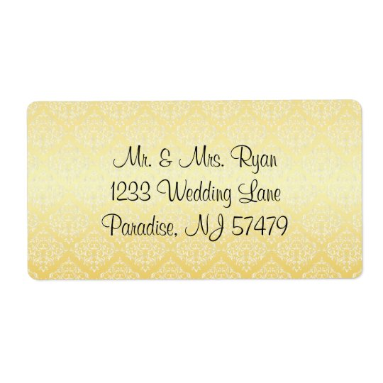 Modern Trendy Wedding in a Yellow Damask Shipping Label