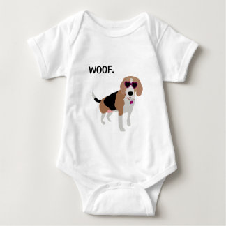 Modern tri-color beagle dog baby bodysuit