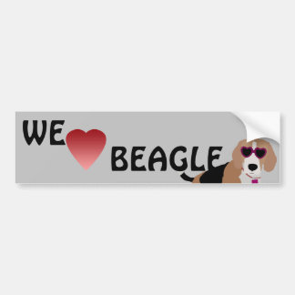 Modern tri-color beagle dog bumper sticker
