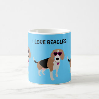 Modern tri-color beagle dog coffee mug