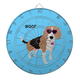 Modern tri-color beagle dog dartboard
