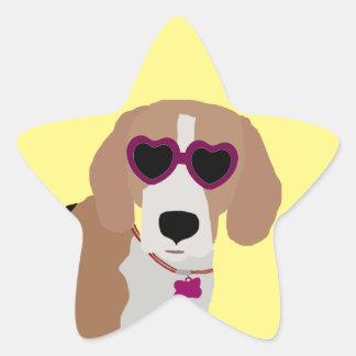 Modern tri-color beagle dog star sticker