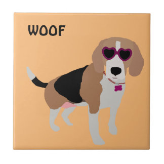 Modern tri-color beagle dog tile