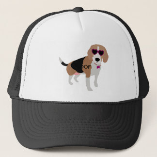 Modern tri-color beagle dog trucker hat