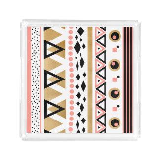 modern tribal aztec gold foil geometric pattern acrylic tray