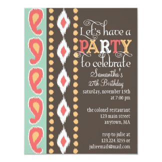 Modern Tribal Colorful Birthday Party Card