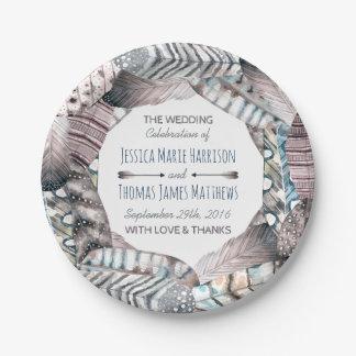 Modern Tribal Feathers Bohemian Wedding 7 Inch Paper Plate
