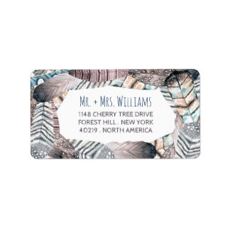 Modern Tribal Feathers Bohemian Wedding Address Label