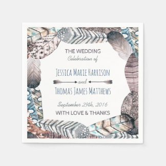 Modern Tribal Feathers Bohemian Wedding Disposable Napkins
