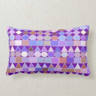 Modern Tribal Geometric, Amethyst Purple and Taupe Lumbar Cushion