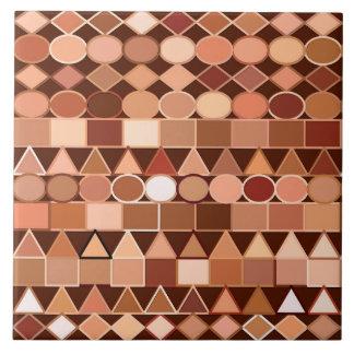 Modern Tribal Geometric, Chocolate Brown and Tan Large Square Tile