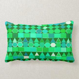 Modern Tribal Geometric, Emerald Green and Aqua Lumbar Cushion