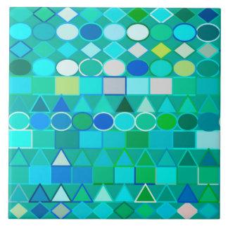 Modern Tribal Geometric, Sea Glass Aqua and Blue Ceramic Tile