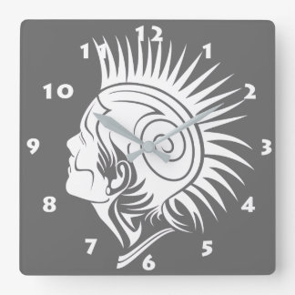 MODERN TRIBAL MOHAWK WITH WHITE NUMERALS SQUARE WALL CLOCK