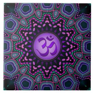 Modern Tribal Purple Om Mandala Ceramic Tile