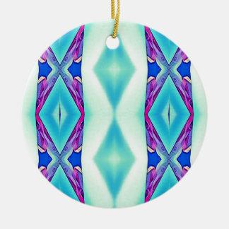 Modern Tribal Shades Of Teal Lavender Round Ceramic Decoration