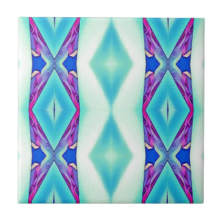 Modern Tribal Shades Of Teal Lavender Small Square Tile