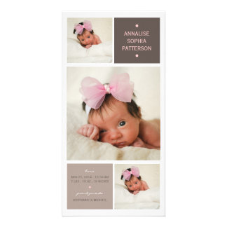 Modern Trio Photo Baby Girl Birth Announcement Photo Card Template