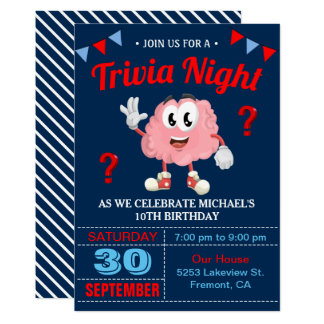 Modern Trivia Quiz Night Birthday Party Invitation