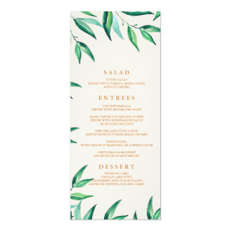 Modern Tropical Beach Wedding Menu Card