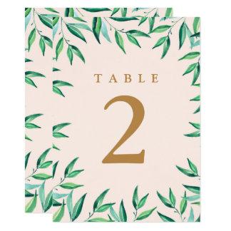 Modern Tropical Beach Wedding Table Numbers Card