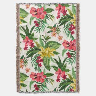 Modern Tropical Flowers Pattern Throw Blanket