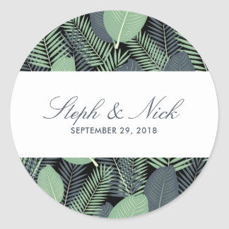 Modern tropical green leaves wedding classic round sticker