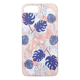 Modern Tropical Monstera Leaf Pattern Peach/Blue iPhone 8/7 Case