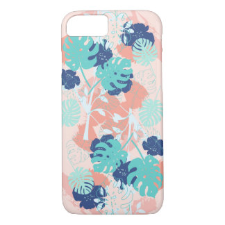 Modern Tropical Monstera Leaf Pattern Peach/Mint iPhone 8/7 Case