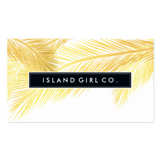MODERN TROPICAL PALM FRONDS logo trendy gold white Pack Of Standard Business Cards