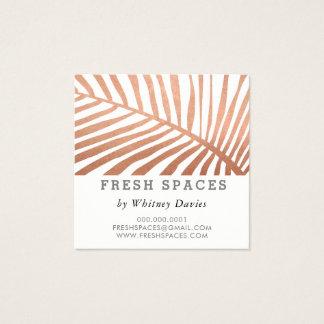 MODERN TROPICAL PALM LEAF logo trendy rose gold Square Business Card