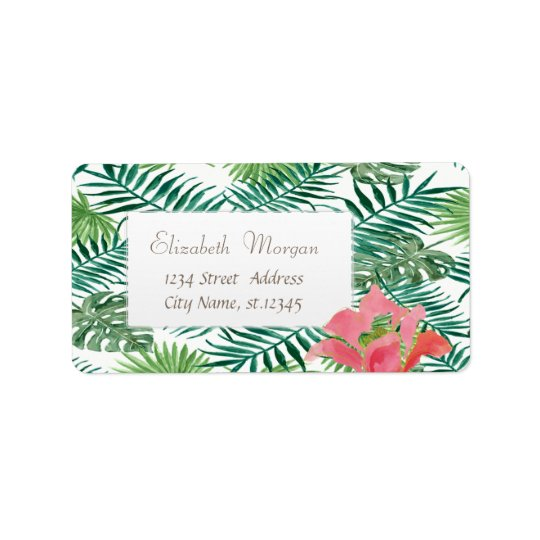 Modern Tropical Palm Leaves, Exotic Hibiskus Label