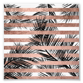 Modern tropical palm trees chic rose gold stripes photographic print