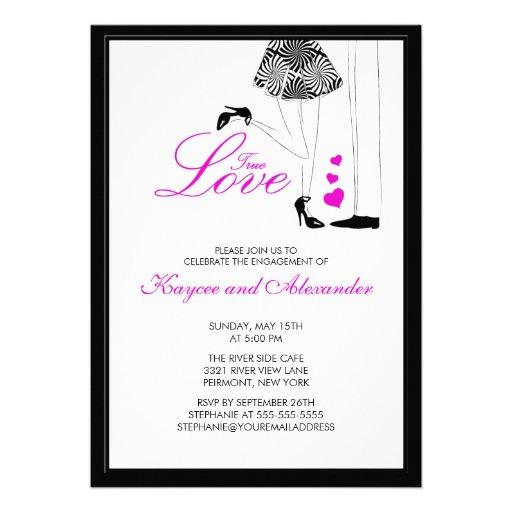 Modern True Love Couple Engagement Invitations