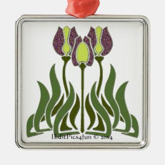 Modern Tulips Premium Square Necklace Silver-Colored Square Decoration