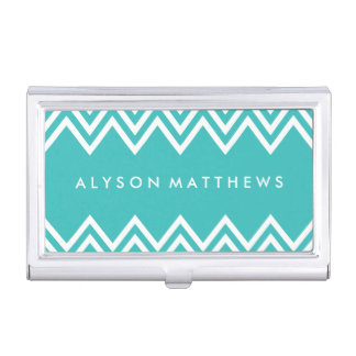 Modern Turquoise and White Chevron Business Card Holder