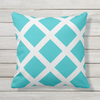 Modern Turquoise and White Criss Cross Stripes Outdoor Cushion